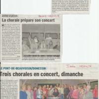 Article DL, préparation de concert à Domessin, chorale, Avressieux, avril 2016