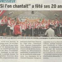 Article DL, novembre 2014, 20 ans chorale, Avressieux, presse