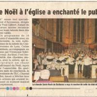 Article DL, concert à Barberaz, décembre 2014, chorale, Avressieux, presse